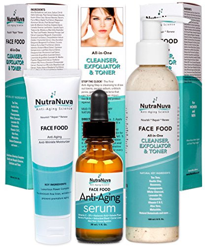 NutraNuva Face Food Natural Skin Care - Stop-the-Clock! Beauty Gift Set - Anti Aging Anti Wrinkle Moisturizer + Anti Aging Serum Complex with 20% C + All-in-One Cleanser, Exfoliator & Toner (3 Items)