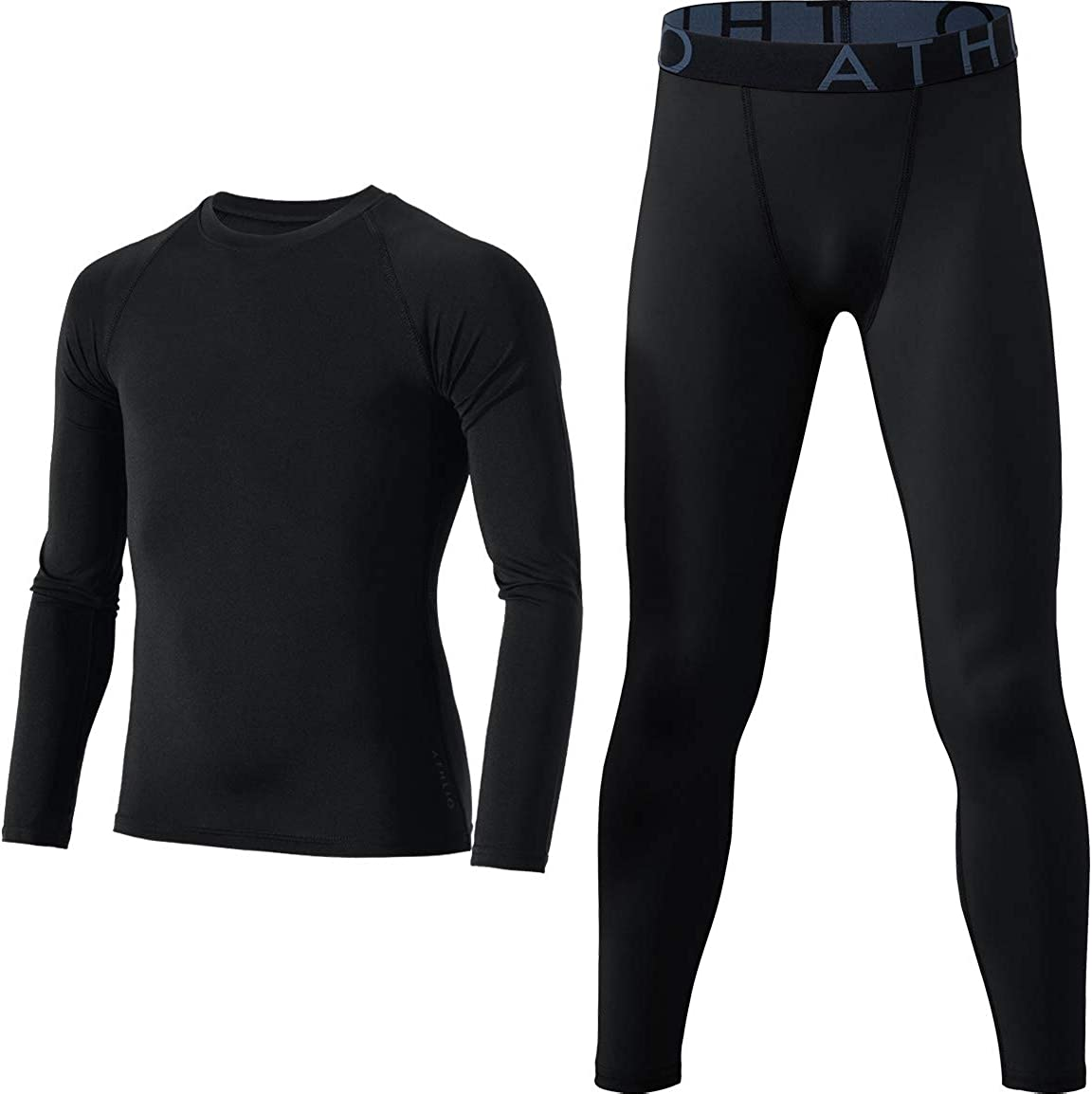 ATHLIO Kid's Compression Running Baselayer Cool Dry Sports Top & Bottom Set: Clothing