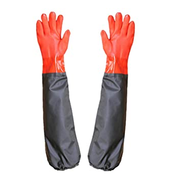 28 Long Working Durable Waterproof PVC Knitted Gloves with Cotton lining Fishing Operation Resistant Garden Gloves Agricultural Gloves-Large gloves