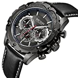 Mens Chronograph Watch Waterproof Analog Military Leather Quartz Watches (black)