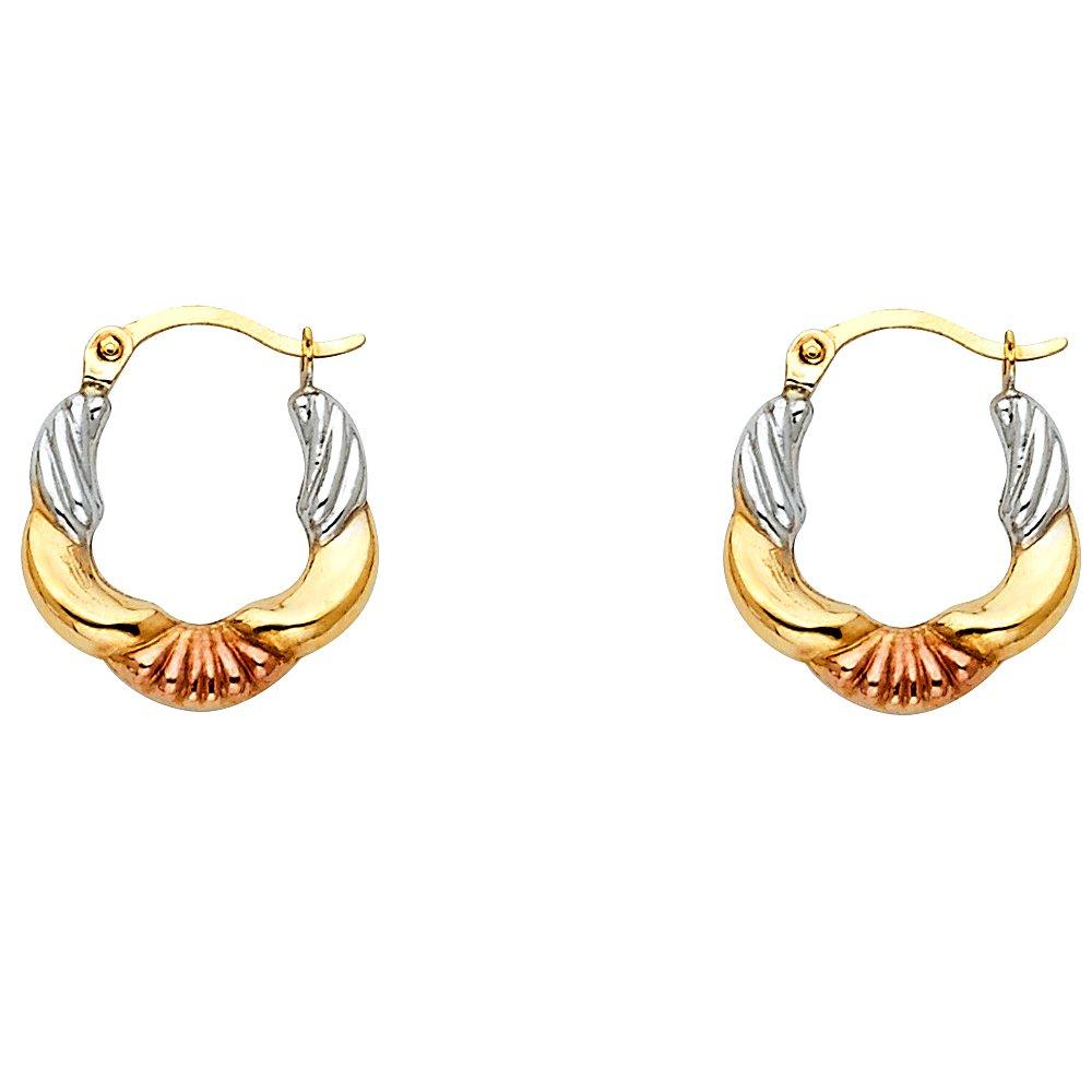 13mm X 13mm 14k Tri-Color Gold Fancy Hollow Hoop Earrings,