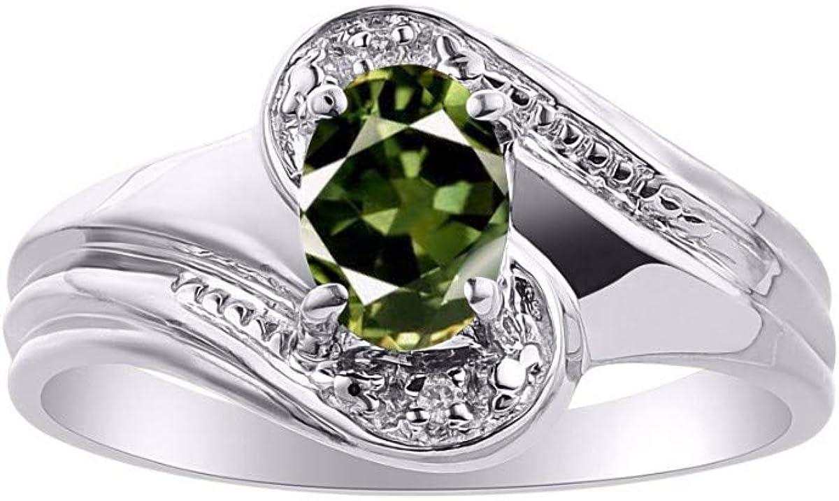 September Birthstone RYLOS Simply Elegant Beautiful Green Sapphire /& Diamond Ring