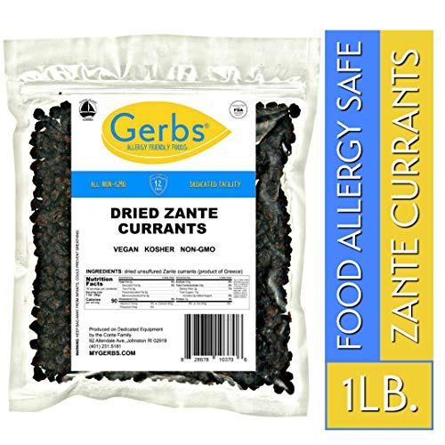 (Gerbs Dried Zante Currants, 1 LB - Unsulfured & Preservative Free - Top 14 Food Allergy Free & NON GMO - Grown in Greece)