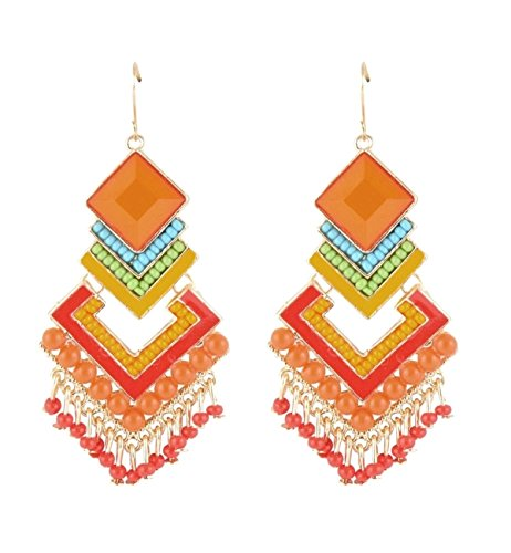 Crunchy Fashion Bollywood Indian Jewelry Stylish Party Wear Multicolor Boho Beaded Dangle Earrings for Women ()