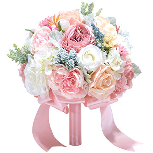(Danyerst Roses Artificial Flowers Fake Flowers Bouquet Bridal Bridesmaid Wedding Floral Arrangements Home Office Yard Party Hotel Decorations Gift (2))