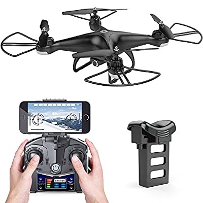 Holy Stone HS110D FPV RC Drone with 720P HD Camera Live Video 120° Wide-angle WiFi Quadcopter with Altitude Hold Headless Mode 3D Flips RTF with 4G TF Card Modular Battery from Holy Stone