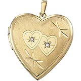 14k Yellow Gold Diamond and Double Heart Locket (.015 Cttw, GI Color, I3 Clarity)