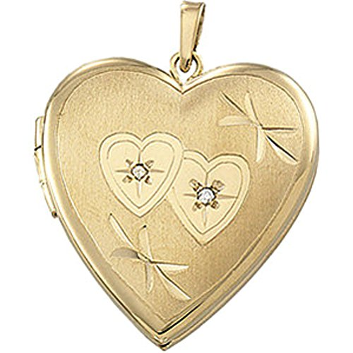 14k Yellow Gold Diamond and Double Heart Locket (.015 Cttw, GI Color, I3 Clarity) by The Men's Jewelry Store (for HER)