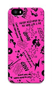 3D Hard Plastic Case Cover for iPhone 5 5S 5G,Pink Retro Graffiti Pattern with Funny Quote Case for iPhone 5 5S 5G,Pink Case for iPhone 5 5S 5G