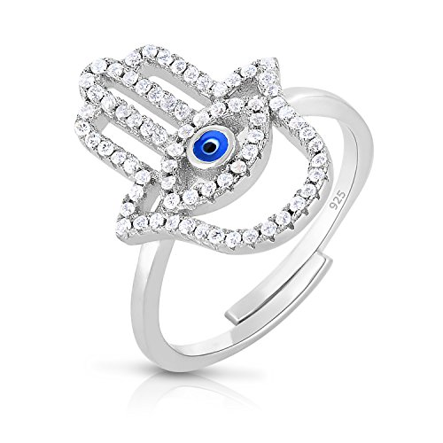 (Unique Royal Jewelry Hamsa Hand Evil Eye Sterling Silver Adjustable CZ Ring - Platinum Plated - Size 7)