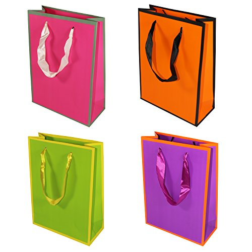 Oxford Novelties 10 Quality Solid Colour Birthday Christmas Wedding Party Gift Bags Small 24cm