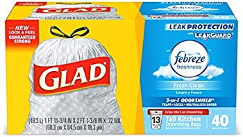40-Count Glad Tall Kitchen Drawstring Trash Bags