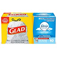 Glad Tall Kitchen Drawstring Trash Bags - OdorShield 13 Gallon Grey Trash Bag, Febreze Fresh Clean - 40 Count Each