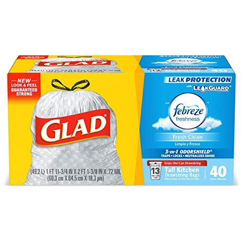 Glad Tall Kitchen Drawstring Trash Bags - OdorShield 13 Gallon Grey Trash Bag, Febreze Fresh Clean - 40 Count (Packaging May Vary)