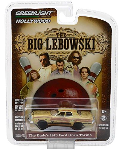 (The Dude's 1973 Ford Gran Torino The Big Lebowski Movie (1998) Hollywood Series 18 1/64 Diecast Model Car by Greenlight 44780)