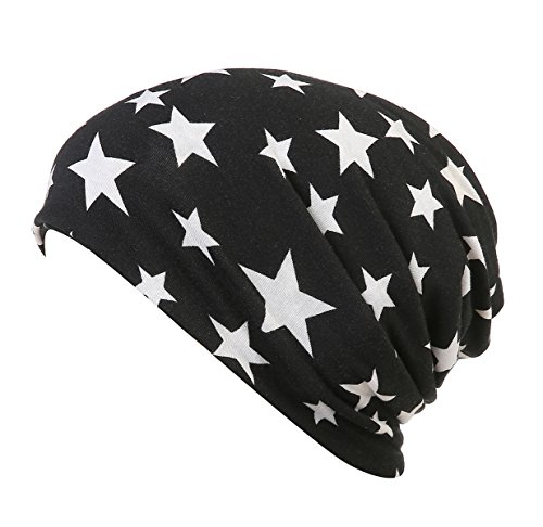 (DancMolly Print Flower Cap Cancer Hats Beanie Stretch Casual Turbans for Women (Star))
