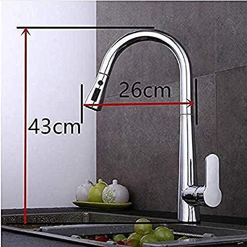CHENBIN-BB タップアウトキッチン蛇口3機能シンクミキサー蛇口プルアウトデュアルスプレーノズルホットコールドミキサー水タップを引いて