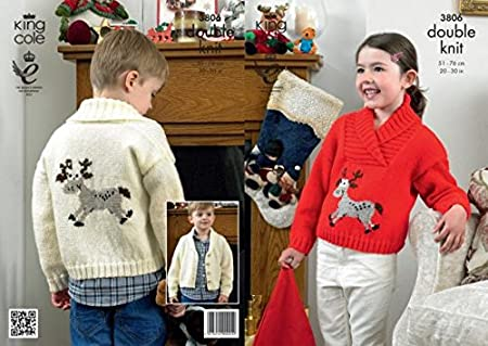 King Cole Dk Knitting Pattern 3806 Christmas Sweaters Amazon