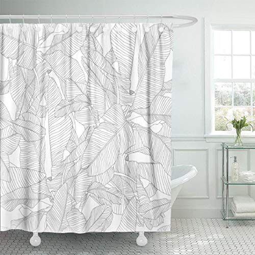 Palm Shower Curtain (LILYMUA White Fabric Bathroom Shower Curtains, Tropical Palm Leaves Pattern Trendy Fabric with Bath Curtain Hooks Polyester Shower Curtain Waterproof Bathroom Decor 72x78)