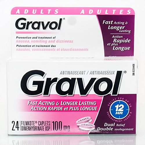 Gravol Immediate & Long-Acting 100mg Dual Relief for Nausea, Dizziness, Vomiting, 24 Caplets by Gravol