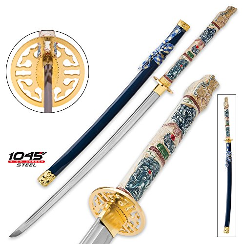 Battle Ready Katanas (K EXCLUSIVE Highlander Closed Mouth Dragon Katana with Blue Lacquered Saya - 1045 High Carbon Steel Blade - Battle Ready)