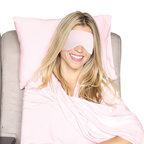 HappyLuxe Paris Luxury Travel Set, Travel Pillow, Wrap, and Sleep Mask. Great for Airplanes, Trains, Ships, Buses, or any other Journey. Travel in Comfort, Made in USA (Pink Crush)