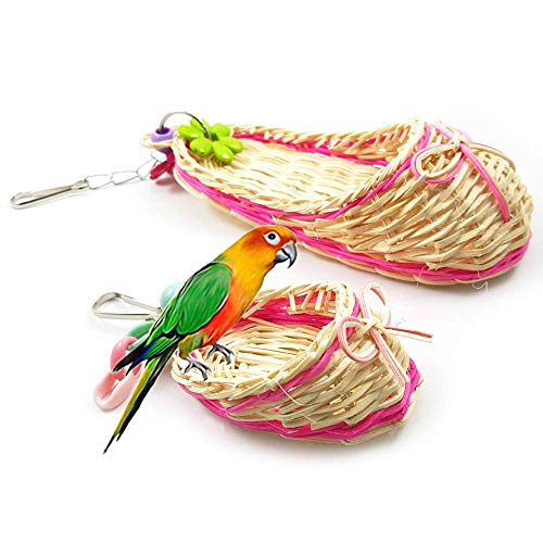 (BLSMU Bird Toys ,Pet Toy Natural Bird Straw Toy Parrot Hanging Toy with Slipper Shape, Set of 2)