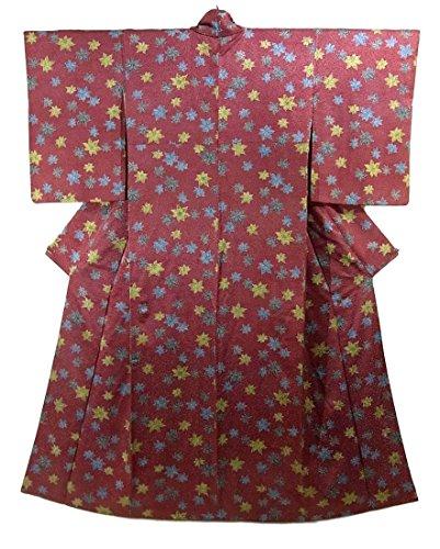 リサイクル 着物  小紋 楓模様 正絹 袷 裄61.5cm 身丈160cm