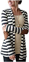 Aifer Women's Striped Long Sleeve Shawl Collar Elbow Patch Sweater Open Front Cardigan