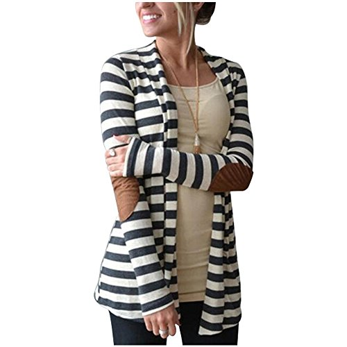 Aifer Womens Striped Long Sleeve Shawl Collar Elbow Patch Open Front Cardigan Sweater,Stripe,X-Large (Striped Cardigans For Women)