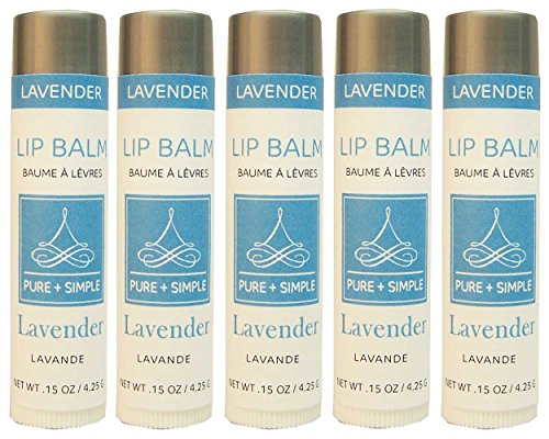 Balm Lavender - PURE + SIMPLE Lavender Lip Balm Collection, Vegan, Set of 5 Tubes, Avocado Butter, Jojoba Oil, Vitamin E Complex Healing Treatment