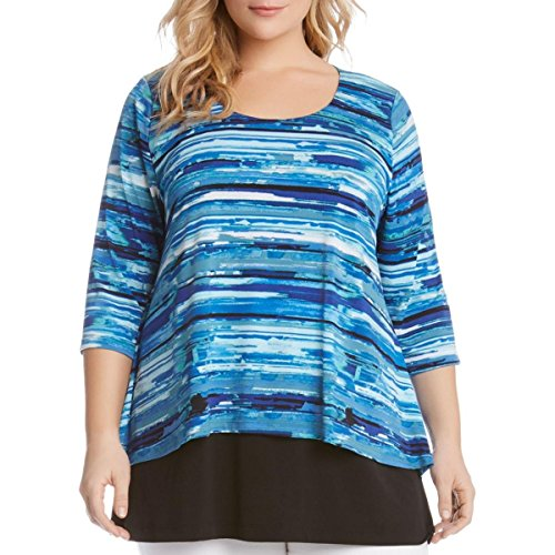Karen Kane Women's Plus Size Split-Back Top, Print, 2X