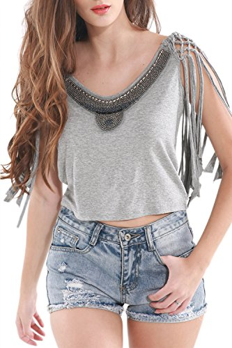 Camisa diseño YACUN mujeres Knit Top cultivo con borlas