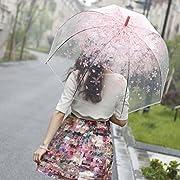 Amazon Lightning Deal 88% claimed: [Pink Cherry]Moonse Romantic Pink Cherry Clear Rain Wind Umbrella,Half-Automatic
