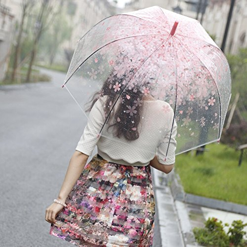 Amazon Lightning Deal 90% claimed: [Pink Cherry]Moonse Romantic Pink Cherry Clear Rain Wind Umbrella,Half-Automatic