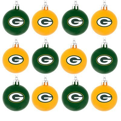 NFL Ball Ornament (Set of 12) NFL Team: Green Bay Packers (Ornaments Tree Collectible Christmas)