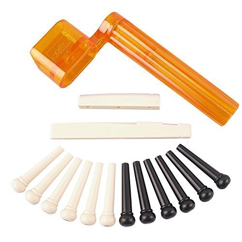 YMC Tint Bridge Pin+String Winder Plus Nut Saddle Set for Acoustic Guitar, Black & Ivory, 6 (Acoustic Bridge Pin Set)