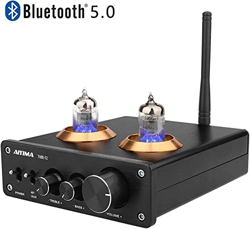 AIYIMA Audio 6J1 Tube Preamplifier Bluetooth 5.0 HiFi Treble Bass Adjustment Audio Preamplifier DC12V Vacuum Preamp for Home Theater System Black Bluetooth 5.0