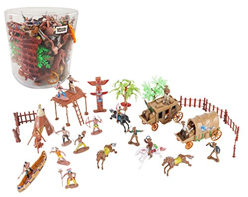 Liberty Imports Wild West Cowboys & Indians Plastic Figures Bucket Playset
