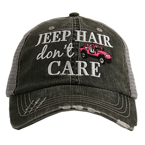Jeep Hair Don T Care Women S Distressed Grey Trucker Hat