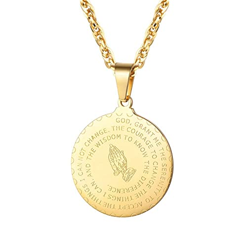 YDMSGSB Collar Inspirado con la oración de la Biblia Manos de Acero de Titanio, Texto de la Biblia Collar de la Mano de oración B - Oro: Amazon.es: Joyería