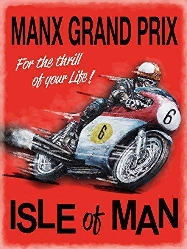 Manx Grand Prix Isla De Man Iom Carrera De Motos Tt Metal Letrero