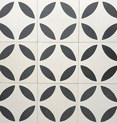 Circles Geometric Encaustic Black and White 8x8 Honed Finish Cement Tile Floor