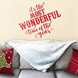 """perfect christmas wall decals Vinyl Wall Art Decal - It's The Most Wonderful Time of The Year - 23"""" x 27"""" - Christmas Seasonal Holiday Sticker - Indoor Outdoor Home Office Wall Window Bedroom Workplace Decals (23"""" x 27"""", Red)"""
