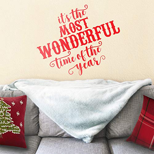 """Vinyl Wall Art Decal - It's The Most Wonderful Time of The Year - 23"""" x 27"""" - Christmas Seasonal Holiday Sticker - Indoor Outdoor Home Office Wall Window Bedroom Workplace Decals (23"""" x 27"""", Red)"""