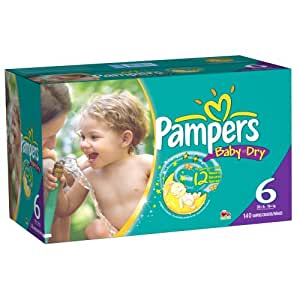 PampersBaby Dry Diapers Size 6 Economy Pack Plus, 140 Count