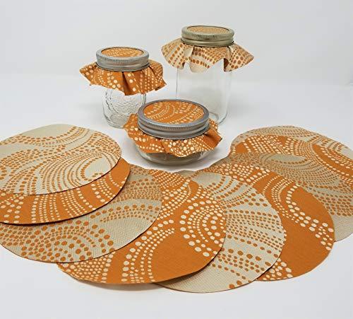(Pumpkin Swirl Jar Toppers (12), Reversible Fabric Circle)