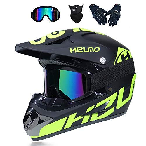 MRDEER Motocross Helm, Adult Off Road Helm mit Handschuhe Maske Brille, Unisex Motorradhelm Cross Helme Schutzhelm ATV…