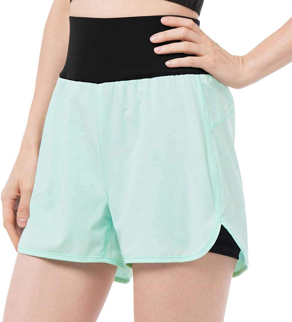 REYSHIONWA Women's 2 in 1 Workout Running Shorts Active Yoga Shorts Double Layer Athletic Gym Short with Zip Pocket