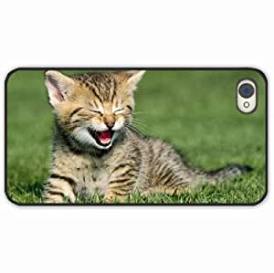 iPhone 4 4S Black Hardshell Case kitten cry grass sit Black Desin Images Protector Back Cover
